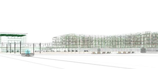 edificio piazza porticato rendering 3d illustrazione progetto