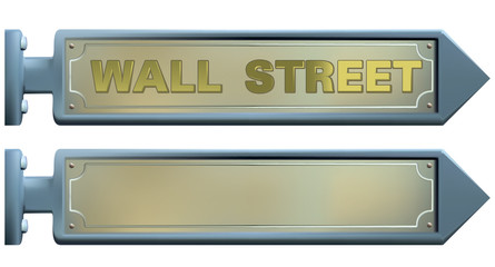wall street sign and blank sreet sign