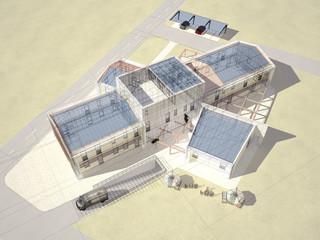 edificio ecostostenibile a pannelli solari render 3d progetto