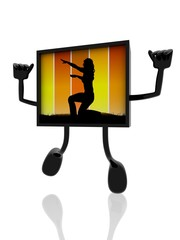 acrobatic silhouette on 3d banner