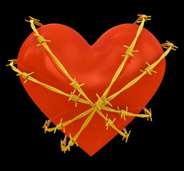 Heart shape wrapped with golden barbed wire isolated on black
