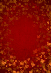 red color scattering heart background XXL