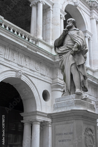 Palladio Statue in Vicenza, with the basilica