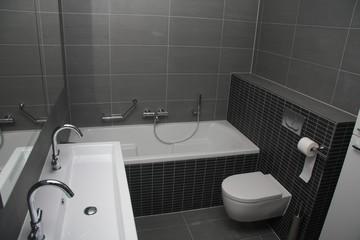Modern bathroom in shades of grey