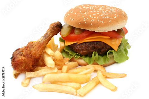 hamburger and chicken