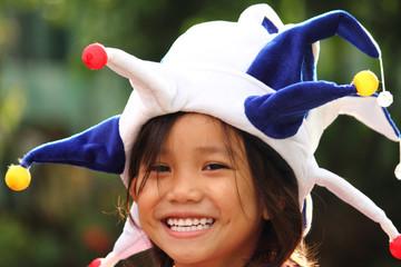 girl in clown hat