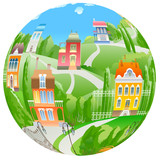 Vector fisheye rural landscape.