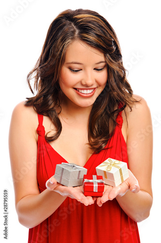 Attractive young woman with valentines presents