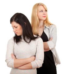standing two young women, girlfriends quarrel