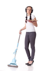 Young woman with mop and book.