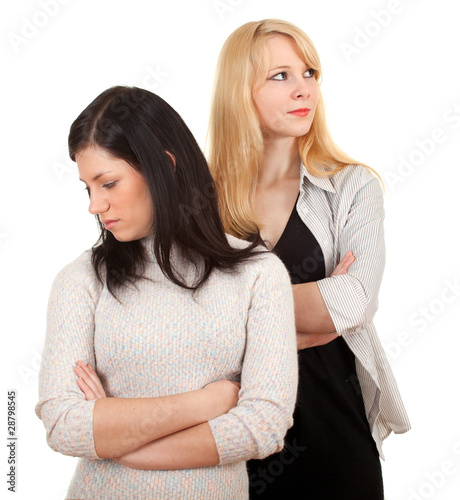 standing two young women, girlfriends quarrel