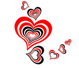 red-black illustration of Valentine's day hearts