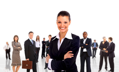 businesswoman and shis team isolated over a white