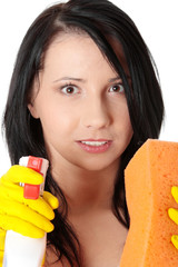 Woman with sponge and spray.