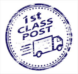1st Class Post Rubber Stamp