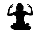 silhouette woman sitting exercising yoga