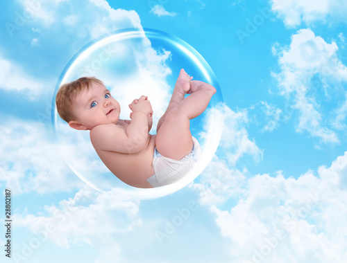 Baby Floating in Protection Bubble