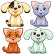 Cute dogs and cats. Vector animal isolated characters