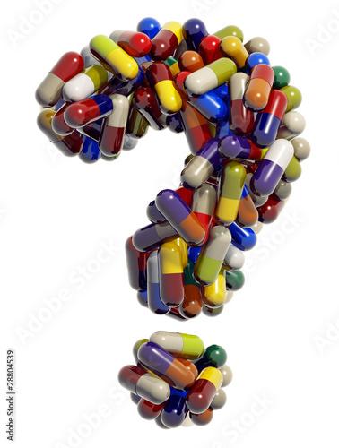 Знак вопроса из медицинских таблеток, 3D