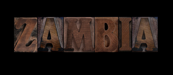 the word Zambia in old letterpress wood type
