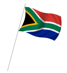 Flag of South Africa with pole flag waving over white background