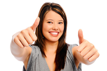 Beautiful woman shows thumbs up