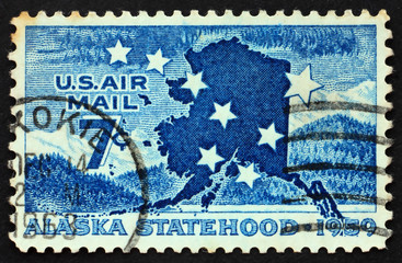 UNITED STATES OF AMERICA - CIRCA 1959: a stamp printed in the Un