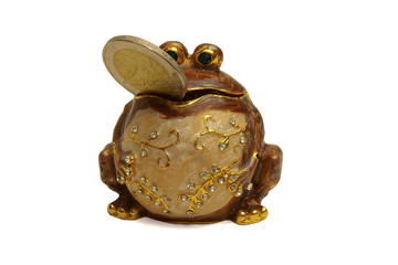 Figurine of a frog with a coin