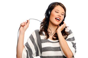 Pretty girl sings along