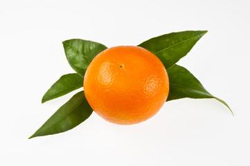 Orange mit Blättern, isoliert