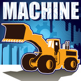 Designed background with stylized bulldozer