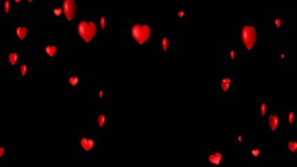 Fliegende Herzen auf schwarzem Hintergrund