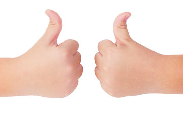 Kid's hands showing thumbs up gesture