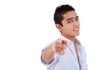young and happy latin man pointing