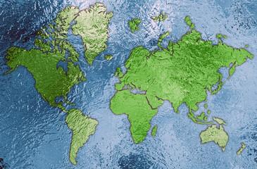 3D Metallic World Map