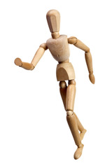 Running wooden mannequin isolated on white