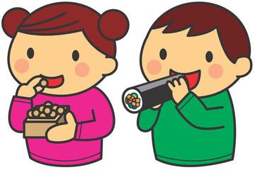 節分(豆と巻き寿司を食べる子ども)