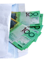 Australian hundred dollars in white envelope