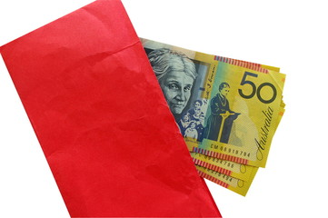 Australian money in red envelope