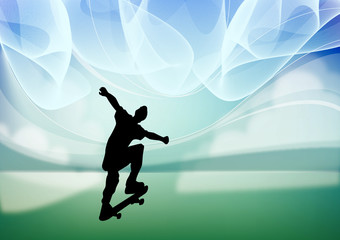 Silhouette of a skateboarder