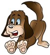 Brown Dog - colored cartoon illustration