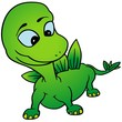 Green Dino - colored cartoon illustration