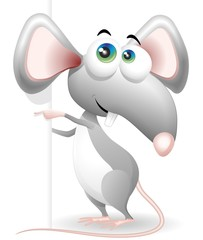 Topo Cartoon Con Pannello-Mouse Cartoon with Panel-Vector