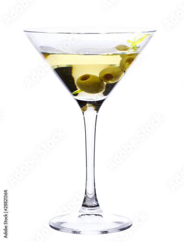 Glass of Martini with olives isolated on white