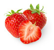 canvas print picture - Isolated strawberries. Three strawberry fruits, one cut in half isolated on white background