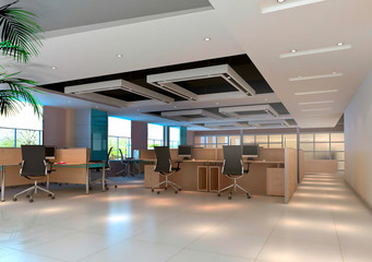 3d modern office room