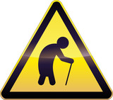Yellow Aging People Warning Sign poster