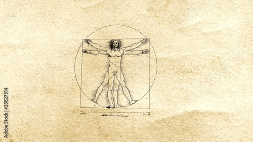 Vitruvian Man (DaVinci) on old paper