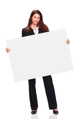 beautiful business lady holding white board