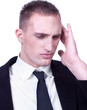 Businessman with severe migraine headache